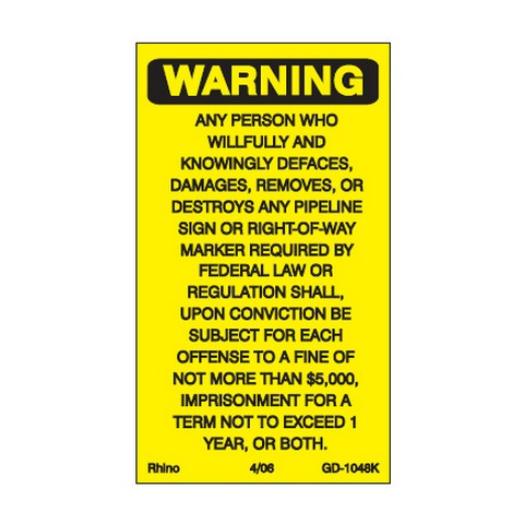 Decals – Warning Vandalism, 2-7/8